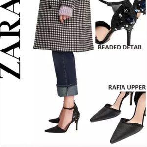 "ZARA Black Floral D'orsay Rafia 4"" High Heel Pump"